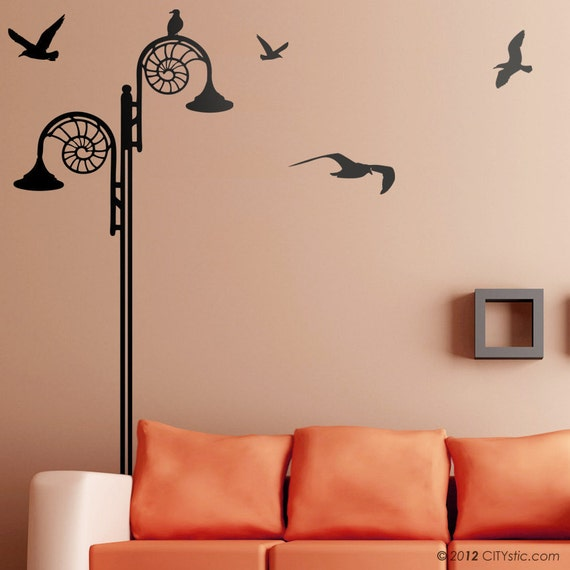 UK Jurassic Coast : WALL DECAL - Lyme Regis Street Lamp with seagulls flying and spiral seashell pattern.