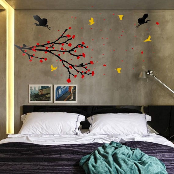 Japanese Sakura Cherry Tree Branch  Wall Decal with color blossoms and many birds flying, flowers, pollens