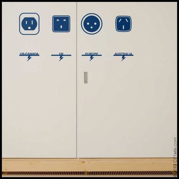 GRAPHIC WALL DECAL :  World Power Electric Outlets. America, Uk, Australia, Europe. Sticker, Fun faces, Vinyl