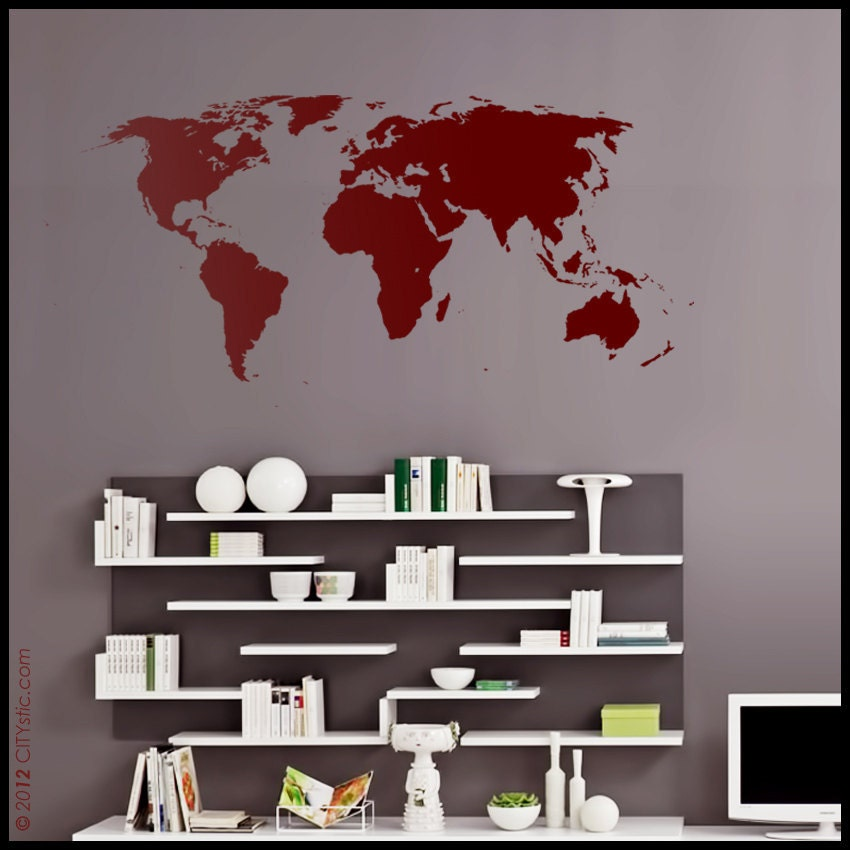 world map wall decal on sale large world map with very. Black Bedroom Furniture Sets. Home Design Ideas