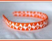 Clemson Auburn - Orange White and Tiger Paw Woven Headband