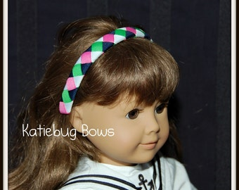 American Girl Doll Woven Headband - White, Navy, Hot Pink, and Apple Green-  Preppy, Classic, Traditional