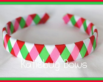 Summer Headband - Watermelon Colors Woven Headband - Summer Woven Headband - Red, Hot Pink, White, Apple Green Headband
