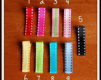 Saddle Stitch Clippies - Pick Four (4) - Mix and Match Ribbon Covered Alligator Clips