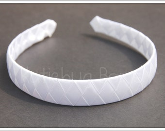 White Pink Ivory Satin Woven Headband - 3 Color Choices - Flower Girl - Bridesmaid - First Communion - Sorority - Confirmation - Bride