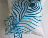 turquoise peacock feather white silk ring bearer pillow