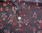 4 Yds Farm Couple 40s Vintage Cotton Print Fabric 35in Wide