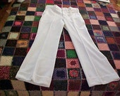 Vintage 70s LEE Flare Leg Cuffed DISCO Pants White New with Tags 34 long length MOD