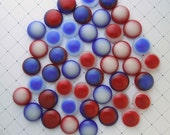 Fused Glass Mini Cabochons, Mosaic Tiles, Buttons, Stained Glass, Beads, Red White And Blue 2652