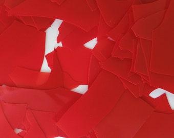 Red Opal Bullseye Shards/Confetti Glass 90 Coe