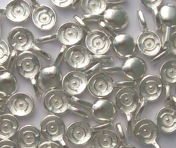 20 Silver Plated Bails For Glass Cabochons/Tiles/Pendants