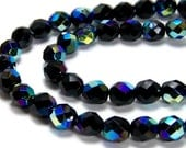 Black Glass Beads, Czech 8mm faceted round Aurora Borealis AB, Full & Half strands available  (276F)