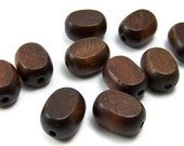 Large Brown Wood Beads, 25mm handcut flat ovals, 25 eco-friendly wooden beads (250R)