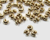 Crimp Bead Covers, 4mm Gold plated, multiple packet sizes available  (329FD)