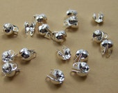 large bead tips, silver plated double loop side clamp, 6.5x4.5mm , 50 pieces (332FD)