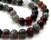 8mm AFRICAN BLOODSTONE beads, round natural gemstone, full or half bead strands  (396S)