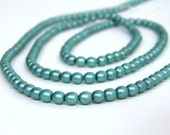 Mint Green Czech glass beads, 4mm round satin, Full Bead Strand, 474G