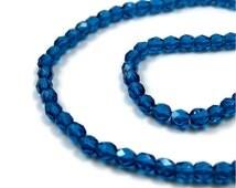 Czech Glass Beads, 4mm dark aqua blue, Full Bead Strand (370F)