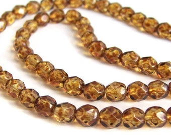 6mm Czech Glass Beads, Golden Tortoise Shell Mix, faceted round, gold brown,  full & half strands available  (281F)