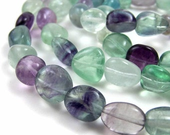 Rainbow Fluorite nuggets, natural colorful gemstone nugget beads, Full & Half Strands  (131S)