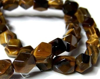 faceted tigereye beads, 8mm - 10mm  tumbled pebbles, natural gemstone, full & half strands   (119S)