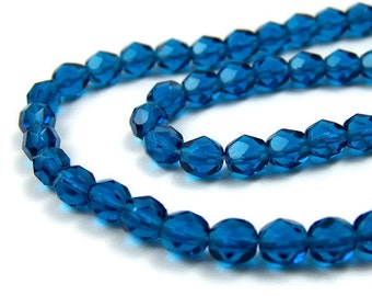 Czech Glass Beads, faceted round 6mm Dark Aqua Blue, Full & Half strands available  (297G)