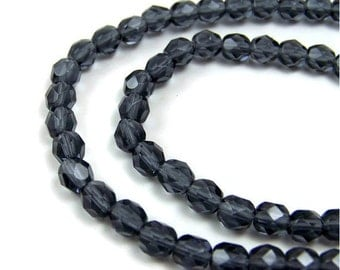faceted Czech Glass Beads, montana blue 6mm round, full & half strands available  (325F)