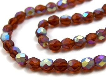 6mm faceted glass beads, Czech Glass, Brown Matte AB Aurora Borealis, full strand (373F)