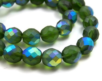 Czech Glass Beads, 12mm faceted round, green matte AB Aurora Borealis, full & half strands available  (380F)