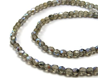 4mm Czech Glass beads, faceted round, Smoke Grey Aurora Borealis, Full strand, 360F