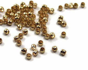 100 Gold Crimp beads, gold plated brass, 2mm small (388FD)