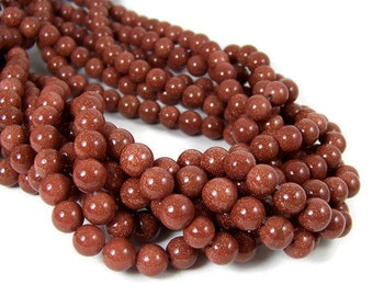 8mm Goldstone beads, round gemstone, full & half strands available   (434G)