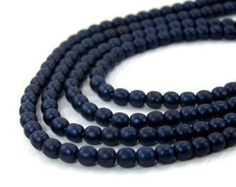 4mm Czech Glass Beads, round Dark blue satin, Full Bead Strand, 442G