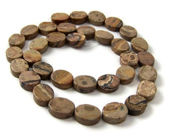 LEOPARDSKIN JASPER beads, 12mm oval gemstone beads, full & half strands available  (150S)