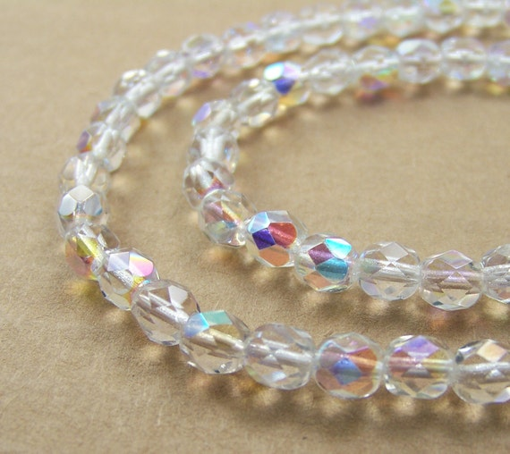 faceted glass beads, 6mm clear Crystal Aurora Boralis, Czech fire polished glass, Full & Half strands available   (378F)