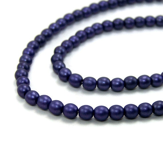 purple glass beads, Czech 4mm round, Full Bead Strand, 454G