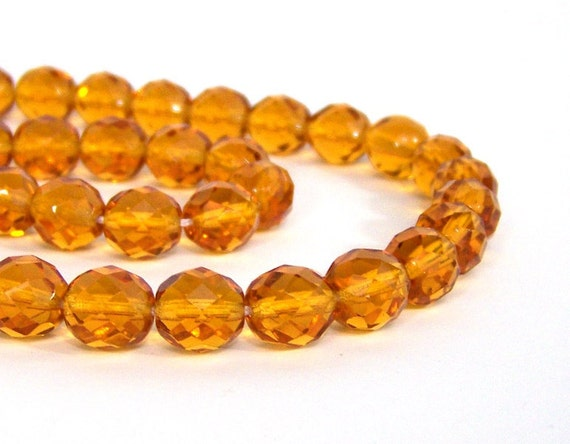faceted Czech glass beads, 10mm Honey Yellow, Full bead strand (501F)