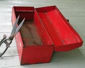 SALE - Red Rusty Vintage Toolbox