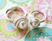 Mother and Daughter Sterling Silver Fresh Water Pearl Ring Set of Two