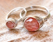 Mother and Daughter Ring Set - Multi colored option quartz beads