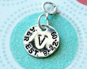 Custom Sterling Silver Hand Stamped Anniversary or Wedding Date Add On Charm