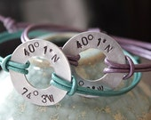 2 Aluminum Alloy Hand Stamped Latitude and Longitude Coordinates Washer with Leather Band Bracelets