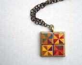 FOUR SQUARE Pinwheel Geometric Eco Paper Necklace