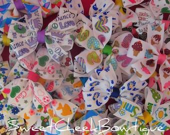Wholesale hair bows, pinwheel hair bow, grab bag of 50 printed pinwheels