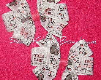 Set Of Two Pinwheel Hairbows- M2M Tres Chic/Poddle