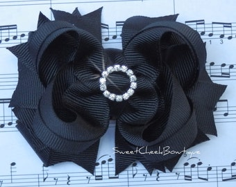 Solid Black stacked boutique rhinestone bow
