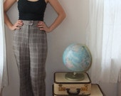SALE 20% off- FREE SHIPPING 1970s high-waisted, cuffed plaid brown and cream pants. large bell bottom , size medium.