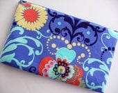 13 Inch Padded Laptop Sleeve, Laptop Case, Laptop Bag - Amy Butler Paradise Garden in Periwinkle