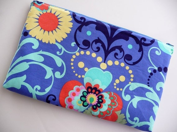Laptop Sleeve - Fits 11 Inch Macbook Air - Amy Butler Paradise Garden in Periwinkle