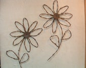 Rustic Western Rusty Barbed Wire Sunflower Wall Decor Set of 2 Flowers